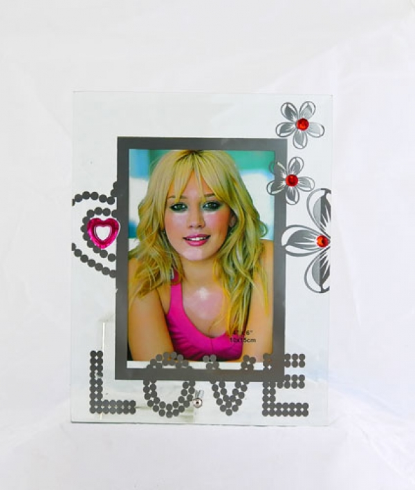 """Фоторамка """"Love"""" с камнями, стекло. арт.1014"""