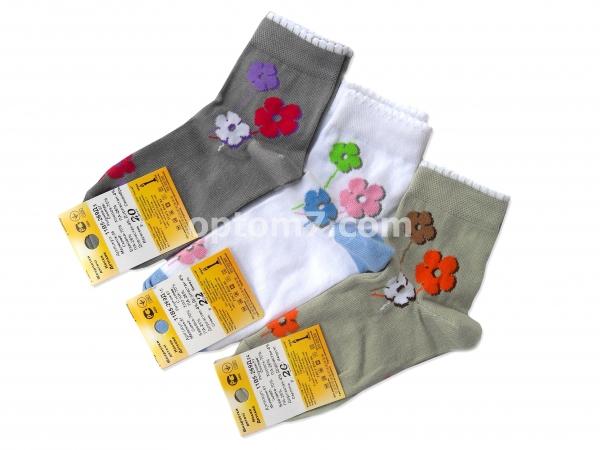 носки детские смалий «цветочек» цвета в ассортименте, упаковка 10 шт. одного размера (р.16,18,20) на Барабашово оптом