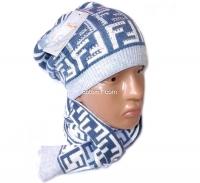 Набор женский (шапка и шарф) Fendi №12007, осень-зима, шапка двойная, шерсть, Китай, цвета в ассортименте