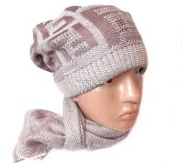 Набор женский (шапка и шарф) Fendi №12008, осень-зима, шапка двойная, на флисе, Китай, цвета в ассортименте