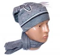 Набор женский (шапка и шарф)  LV №12017, осень-зима, шапка двойная, на флисе, Китай, цвета в ассортименте