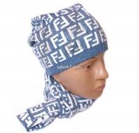 """Набор женский (шапка и шарф)  """"Fendi"""", осень-зима, шапка двойная, кашемир, на шнурках, Китай, цвета в ассортименте"""