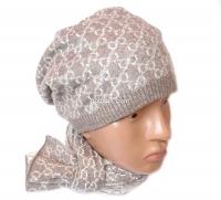 """Набор женский (шапка и шарф)  """"Gucci"""", осень-зима, шапка двойная, кашемир, на шнурках, Китай, цвета в ассортименте"""