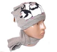 """Набор женский (шапка и шарф) """"Пингвины"""", осень-зима, шапка двойная, кашемир, на шнурках, Китай, цвета в ассортименте"""