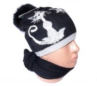"""Набор женский (шапка и шарф) """"Кошки"""", осень-зима, шапка двойная, кашемир, с бубоном, Китай, цвета в ассортименте"""