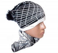 Набор женский (шапка и шарф) №W27, осень-зима, шапка двойная, шерсть, с бубоном, Китай, цвета в ассортименте