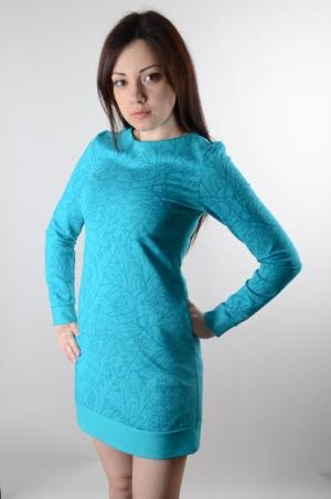 """Платье бирюзовое с принтом """"Цветочный Узор"""" (78014/4)"""