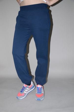 Женские спортивные штаны синие теплые на манжетах (78029)