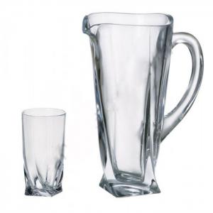 Набор стаканов и кувшин 350мл 6шт + 700мл Bohemia Quadro  (b99999-99A44)