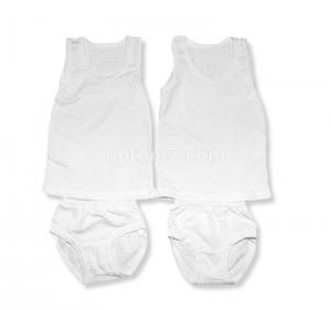 Майка с трусами для девочки белые, жатка, размеры 26-34