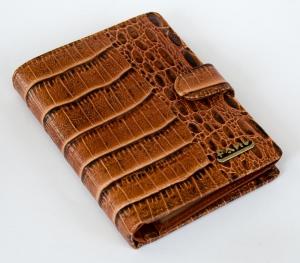 Кошелек-портмоне мужской 14х10см, пресскожа, на кнопке. арт.1075
