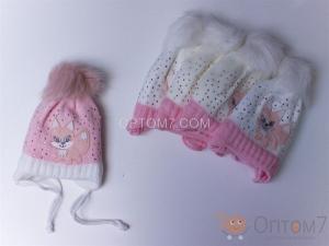 Детская шапка для девочки на 6 месяцев арт.0001