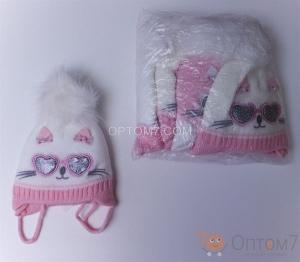 Детская шапка для девочки от 3-х до 6 месяцев арт.0002