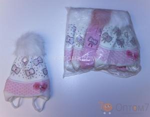 Детская шапка для девочки от 3-х до 6 месяцев арт.0003