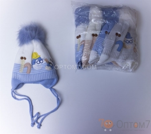 Детская шапка для мальчика до 3-х месяцев арт.0027