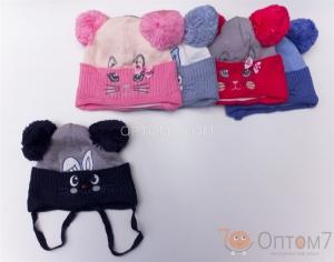 Детская шапка для девочки и мальчика от 1,5 года до 2-х лет арт.0044