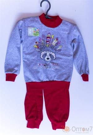 Пижама детская с начесом от 1-го до 5 лет  арт.0048